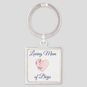 Loving Mom of Boys Square Keychain