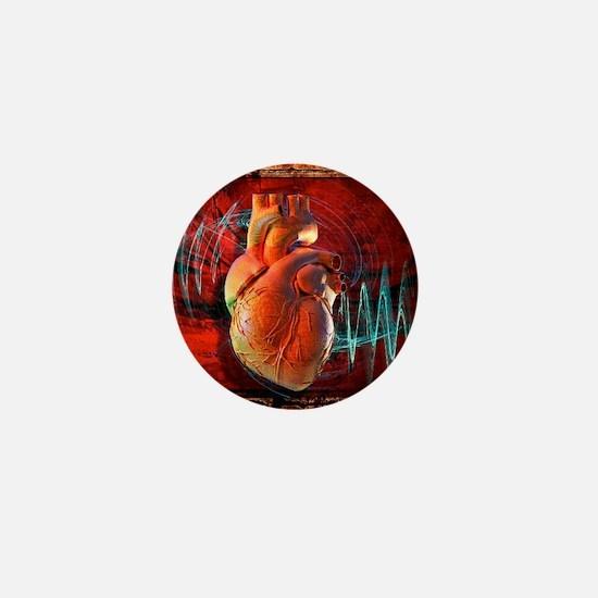 Human heart, artwork Mini Button