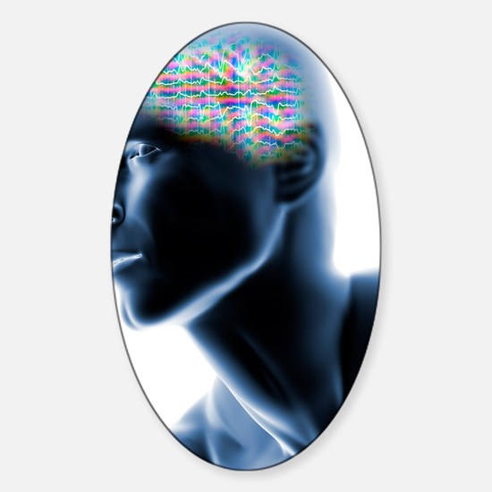 Human head with EEG brainwaves Sticker (Oval)