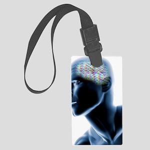 Human head with EEG brainwaves Large Luggage Tag
