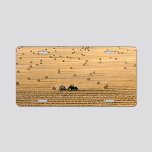 Tractor harvesting straw Aluminum License Plate