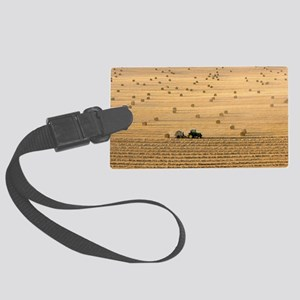 Tractor harvesting straw Large Luggage Tag