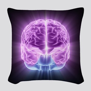 Human brain,computer artwork Woven Throw Pillow