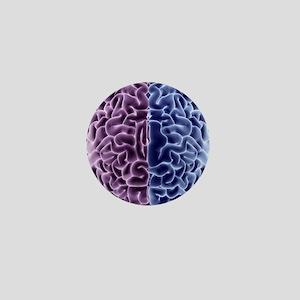 Human brain, computer artwork Mini Button