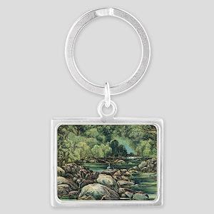 River in Tasmania, 19th century Landscape Keychain