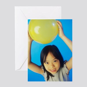 Holding a balloon Greeting Card
