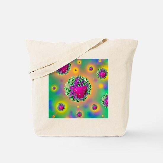 HIV virus particles, artwork Tote Bag