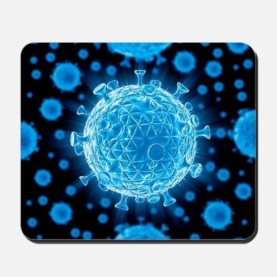 HIV virus particles, artwork Mousepad