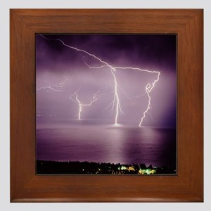 Thunderstorm at night over lake Framed Tile