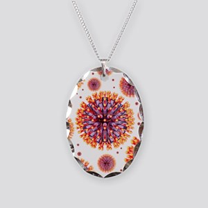 Herpes virus particles, artwor Necklace Oval Charm
