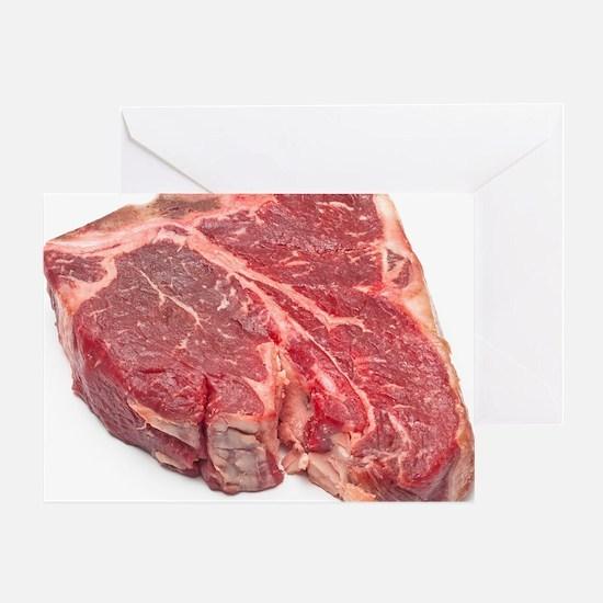 Raw T-bone steak Greeting Card