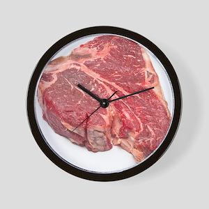 Raw T-bone steak Wall Clock