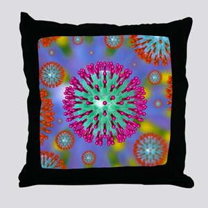 Herpes virus particles, artwork Throw Pillow