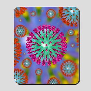 Herpes virus particles, artwork Mousepad