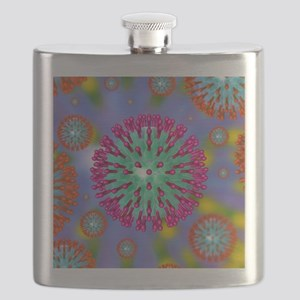 Herpes virus particles, artwork Flask