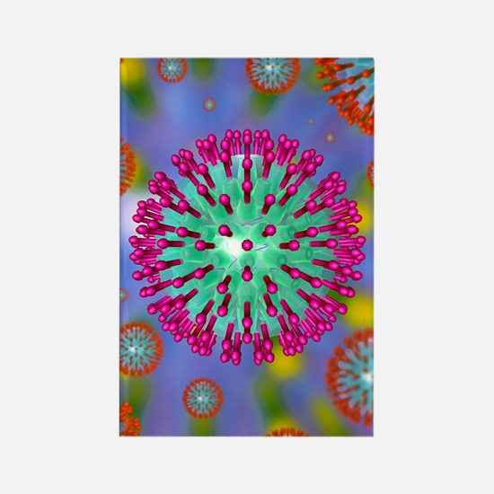 Herpes virus particles, artwork Rectangle Magnet
