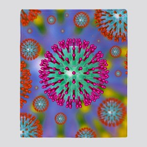 Herpes virus particles, artwork Throw Blanket