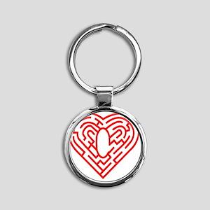 Heart Maze, computer artwork Round Keychain