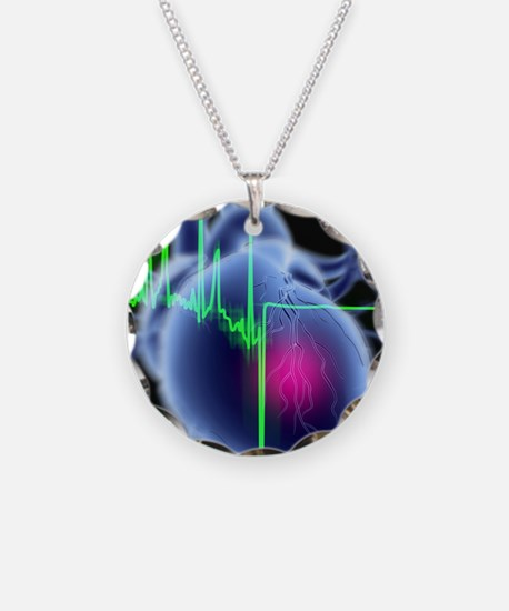 Heart attack and ECG trace Necklace