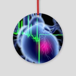 Heart attack and ECG trace Round Ornament