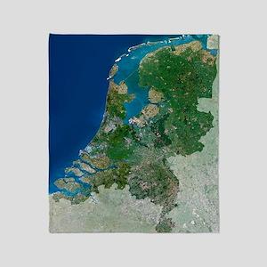 The Netherlands, satellite image Throw Blanket