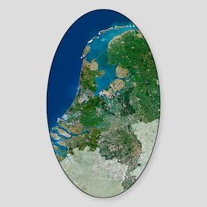 The Netherlands, satellite image Sticker (Oval)