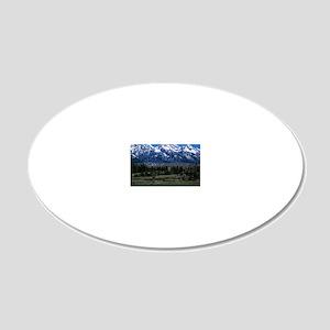 Teton mountain range 20x12 Oval Wall Decal