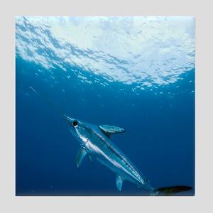 Swordfish swimming Tile Coaster