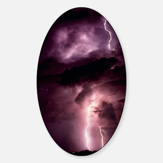 Summer lightning storm near Tuscon, Sticker (Oval)