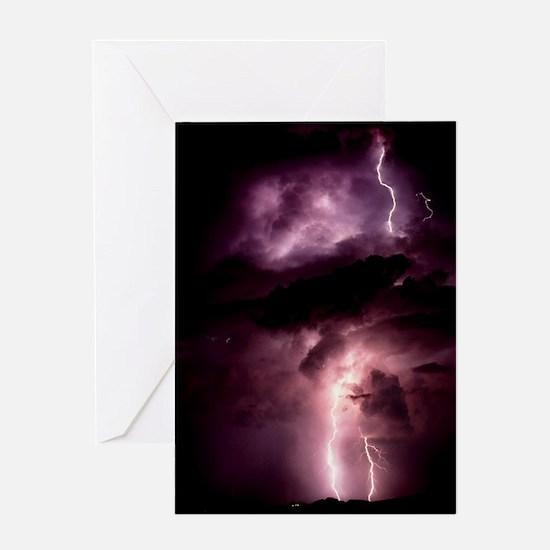 Summer lightning storm near Tuscon,  Greeting Card