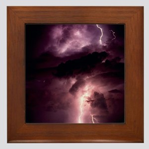 Summer lightning storm near Tuscon, Ar Framed Tile