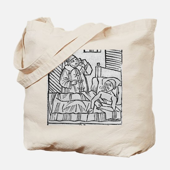 Physician examining patient's urine Tote Bag