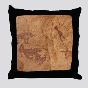 Pictograph detail of a Lion attack, L Throw Pillow