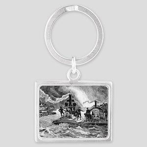 Steam fireboats, 19th century Landscape Keychain