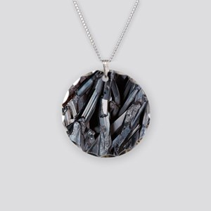 Stibnite crystals Necklace Circle Charm