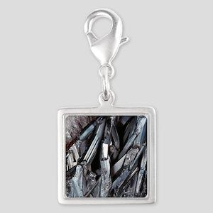 Stibnite crystals Silver Square Charm