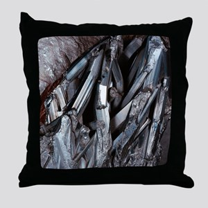 Stibnite crystals Throw Pillow