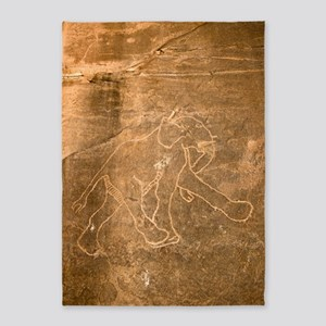 Petroglyph of Running Elephant, Lib 5'x7'Area Rug