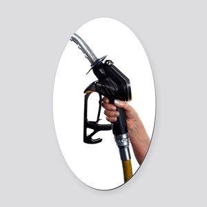 Fuel pump nozzle held in a hand Oval Car Magnet