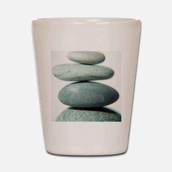 Stacked pebbles Shot Glass