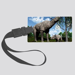 Paraceratherium, artwork Large Luggage Tag
