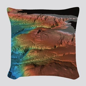 Sonar image of ocean floor off Woven Throw Pillow
