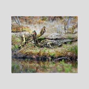 Oviraptors dinosaurs nesting Throw Blanket