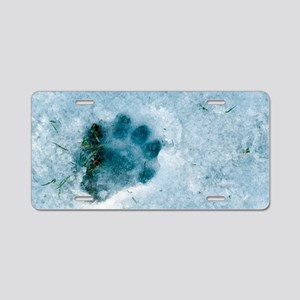 Otter footprint in snow Aluminum License Plate