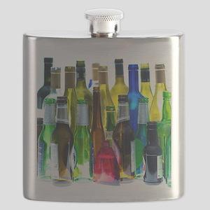 Empty wine and beer bottles Flask