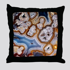 Slice of honeycomb agate Throw Pillow