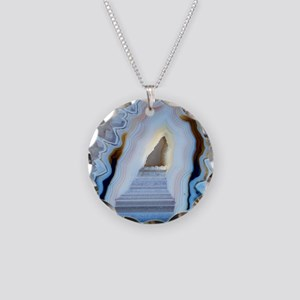 Slice of agate Necklace Circle Charm