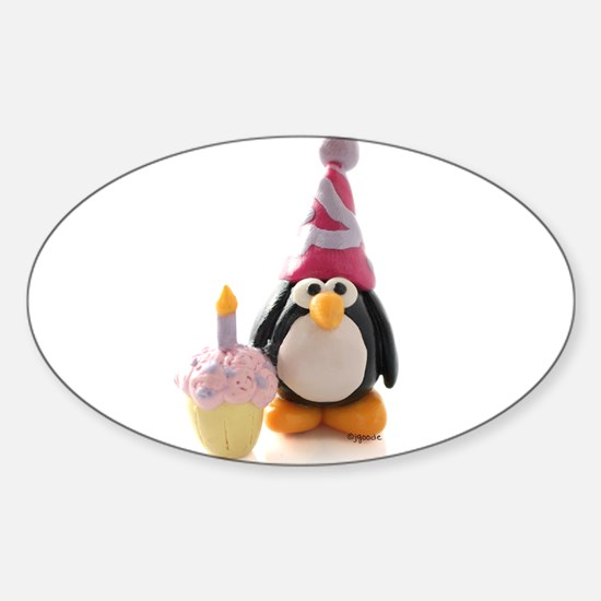 Birthday Penguin Oval Decal