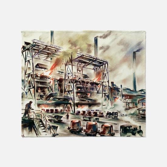 Oberhausen steelworks, artwork Throw Blanket