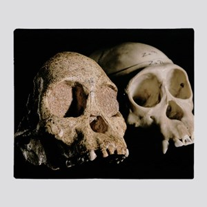 Skulls of Tuang child and a chimpanz Throw Blanket